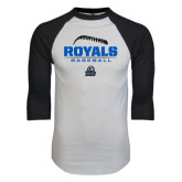 White/Black Raglan Baseball T-Shirt-Royals Baseball Stacked w/ Seams