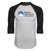White/Black Raglan Baseball T-Shirt-University Logo