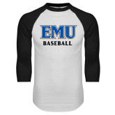 White/Black Raglan Baseball T Shirt-EMU Baseball