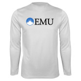 Performance White Longsleeve Shirt-Institutional Logos