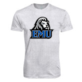 Next Level Heather White Tri Blend Crew-EMU w/ Lion Head