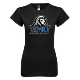 Next Level Ladies SoftStyle Junior Fitted Black Tee-EMU w/ Lion Head
