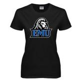 Ladies Black T Shirt-EMU w/ Lion Head
