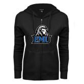 ENZA Ladies Black Fleece Full Zip Hoodie-EMU w/ Lion Head