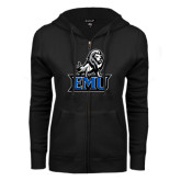 ENZA Ladies Black Fleece Full Zip Hoodie-EMU w/ Full Lion