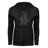 ENZA Ladies Black Fleece Full Zip Hoodie-Official Logo Graphite Glitter