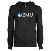 ENZA Ladies Black Fleece Full Zip Hoodie-Institutional Logos