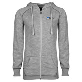 ENZA Ladies Grey/Black Marled Full Zip Hoodie-Institutional Logos