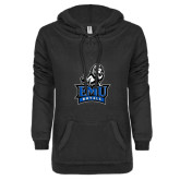ENZA Ladies Black V-Notch Raw Edge Fleece Hoodie-Official Logo