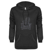 ENZA Ladies Black V-Notch Raw Edge Fleece Hoodie-Official Logo Graphite Glitter