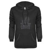 ENZA Ladies Black V Notch Raw Edge Fleece Hoodie-Official Logo Graphite Glitter