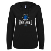 ENZA Ladies Black V Notch Raw Edge Fleece Hoodie-Basketball Design