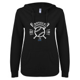 ENZA Ladies Black V Notch Raw Edge Fleece Hoodie-Baseball Design