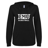 ENZA Ladies Black V Notch Raw Edge Fleece Hoodie-EMU Basketball