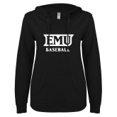 ENZA Ladies Black V Notch Raw Edge Fleece Hoodie-EMU Baseball