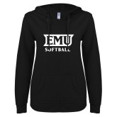 ENZA Ladies Black V Notch Raw Edge Fleece Hoodie-EMU Softball