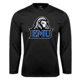 Performance Black Longsleeve Shirt-EMU w/ Lion Head
