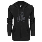 ENZA Ladies Black Light Weight Fleece Full Zip Hoodie-Official Logo Graphite Glitter