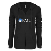 ENZA Ladies Black Light Weight Fleece Full Zip Hoodie-Institutional Logos