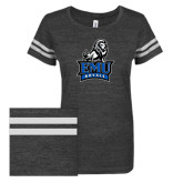 ENZA Ladies Black/White Vintage Triblend Football Tee-Official Logo