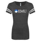 ENZA Ladies Black/White Vintage Football Tee-Institutional Logos