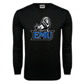 Black Long Sleeve TShirt-EMU w/ Full Lion
