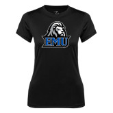Ladies Syntrel Performance Black Tee-EMU w/ Lion Head