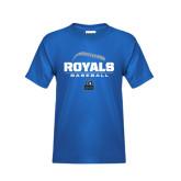 Youth Royal T Shirt-Royals Baseball Stacked w/ Seams