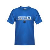 Youth Royal T Shirt-Softball Stencil