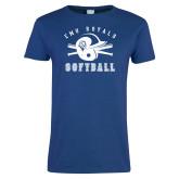 Ladies Royal T Shirt-Softball Design
