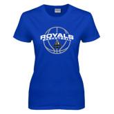 Ladies Royal T Shirt-Royals Basketball Arched w/ Ball