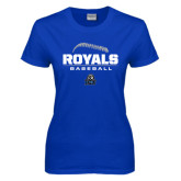 Ladies Royal T Shirt-Royals Baseball Stacked w/ Seams