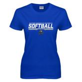 Ladies Royal T Shirt-Softball Stencil