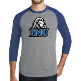 Grey/Royal Heather Tri Blend Baseball Raglan-EMU w/ Lion Head