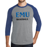 Grey/Royal Heather Tri Blend Baseball Raglan-EMU Baseball
