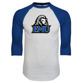 White/Royal Raglan Baseball T Shirt-EMU w/ Lion Head