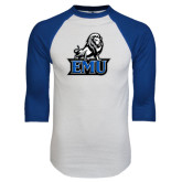 White/Royal Raglan Baseball T Shirt-EMU w/ Full Lion