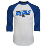 White/Royal Raglan Baseball T Shirt-Royals Slanted w/ Logo