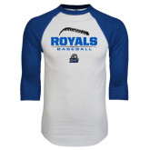 White/Royal Raglan Baseball T Shirt-Royals Baseball Stacked w/ Seams
