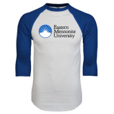 White/Royal Raglan Baseball T Shirt-University Logo