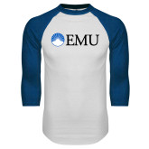 White/Royal Raglan Baseball T Shirt-Institutional Logos