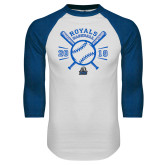 White/Royal Raglan Baseball T Shirt-Baseball Design