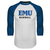 White/Royal Raglan Baseball T Shirt-EMU Baseball