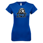 Next Level Ladies SoftStyle Junior Fitted Royal Tee-EMU w/ Lion Head
