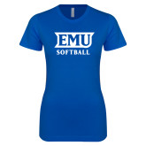 Next Level Ladies SoftStyle Junior Fitted Royal Tee-EMU Softball