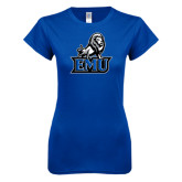 Next Level Ladies SoftStyle Junior Fitted Royal Tee-EMU w/ Full Lion