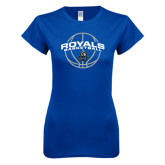 Next Level Ladies SoftStyle Junior Fitted Royal Tee-Royals Basketball Arched w/ Ball