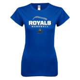 Next Level Ladies SoftStyle Junior Fitted Royal Tee-Royals Baseball Stacked w/ Seams
