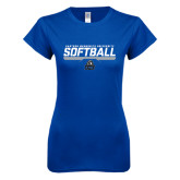 Next Level Ladies SoftStyle Junior Fitted Royal Tee-Softball Stencil