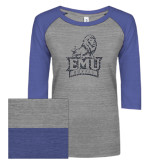 ENZA Ladies Athletic Heather/Blue Vintage Baseball Tee-Official Logo Graphite Glitter